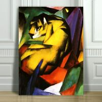 "FRANZ MARC - Tiger - CANVAS ART PRINT POSTER - Abstract Cat - 36x24"""