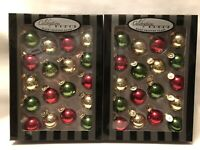 RADKO Glass Ornaments Gold Red Green Celebrations Hand Crafted Balls 36pc 2Boxes