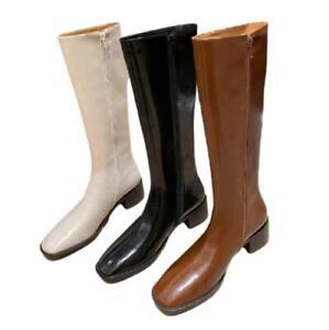 Women Western Cowboy Comfy Mid Calf Boots Low Heel Biker Square Toe Riding Shoes