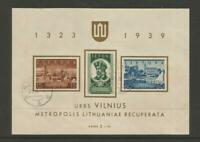 Lithuania #316a Used VF Souvenir Sheet>Return of Vilnius to Lithuania Oct.10-39