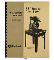 Delta Multiplex 30-A Radial Arm Saw Operator and Parts List Manual *867
