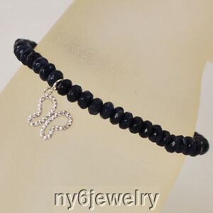 """Natural Sapphire & Cubic Zirconia Stretchy Bracelet w/Silver Tone """"Butterfly"""" 7"""""""