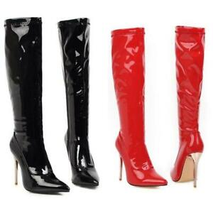 Women Sexy High Heel Boots Pointy Toe Patent Leather Shoes Party Clubwear New