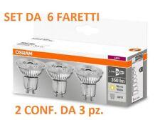 Set da 6 faretti LED Osram GU10  4,3W  - 50W  Luce Calda 2700k 350 lumen 230V
