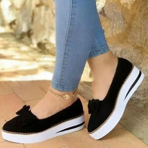 Ladies Womens Bow Flat Slip On Pumps Shoes Casual Loafers Trainers Comfort Shoes