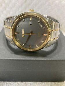 Seiko Men's SNE430 Solar Diamond Marker Watch, Two Tone, Grey Dial Very Good!!