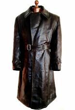 Vtg Mens 1910 WW1 ROYAL FLYING CORPS RFC Leather Dispatch Jacket Trench Coat Lge