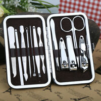 10 PCS Pedicure Manicure Set Nail Clippers Cleaner Cuticle Grooming Kit Case New