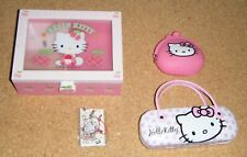 Sanrio `03 Hello Kitty jewellery music box & pink Coin purse, glasses case & fob