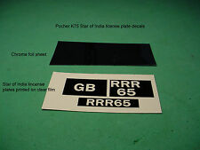 """STAR OF INDIA"" LICENSE PLATE DECAL SET for POCHER K75 1/8 ROLLS ROYCE TORPEDO"