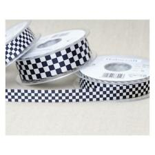 Ribbon Black & White Chequered Check Flag Berisfords 15mm & 25mm Various Lengths