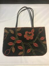 VINTAGE Beaded Purse Black, gold and Red Flora design