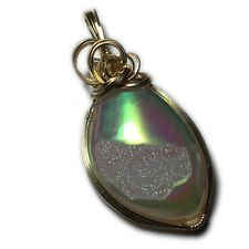 Druzy Pendant 14K Gold Filled - Angel Aura with Leather Necklace Jewelry 175g2-8