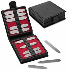 12 Pc Gift Set Metal Collar Stays Stiffeners in Leather Gift Box - PC-CS-SET-1