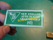 Unused Dash Plaque: 1972 New England AUTO-SLALOM Champsionship CLASS WINNER