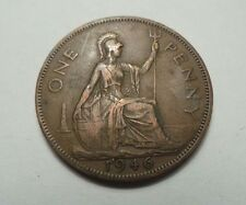Rare Old Collectible Bronze Britain England 1 Penny Dated 1946 King George VI