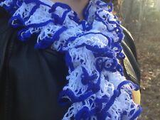 The Greek  Scarf - Handknit Blue and White Ruffle Fashion Scarf