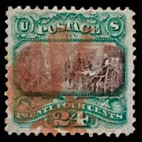 #120 Used, 1869 24c Pictorial Well Centered w/Single Red Fancy Cork Cancel