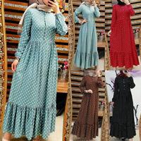 ZANZEA 8-24 Women Retro Polka Dot Dress Abaya Muslim Caftan Kaftan Islamic Robe