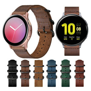 Vintage Leather Watch Strap Band for Samsung Galaxy Watch Active 2 40mm 44mm