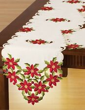 GORGEOUS Christmas  EMBROIDERED RED POINSETTIA & HOLLY TABLE RUNNER, NEW!