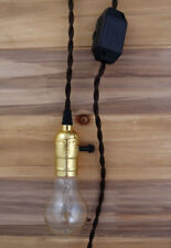 Single Gold Socket Vintage Pendant Light Cord w/ Dimmer, 11 FT  Brown Cloth Cord