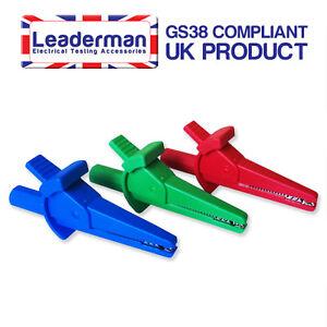 LDM112 Blue/Red/Green Crocodile Clips Set of 3 Fits 4mm Test Leads 1000v/30amp