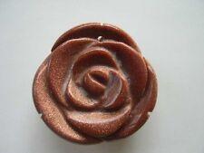 Golden sand carved rose flower pendant 35mm