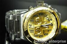 Men Invicta Russian Diver Gold Plated  Swiss Made Steel Chronograph Watch New