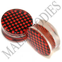 "0815 Acrylic Double Flare Saddle Checkered Black Red 15/16"" Inch Ear Plugs 24mm"