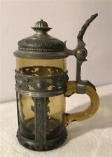 Antique Amber Glass 1/2 L Beer Stein W/ Magnificent Pewter Work Ca 1890s Germany