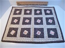 American Girl (or other doll) bedding handmade mini quilt Brown Cream Pink Euc