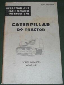 CAT CATERPILLAR D9 CRAWLER TRACTOR DOZER OPERATION & MAINTENANCE MANUAL BOOK 66A