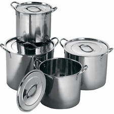 BRAND NEW 4PC LARGE STAINLESS STEEL CATERING DEEP STOCK SOUP BOILING POT / STOCK