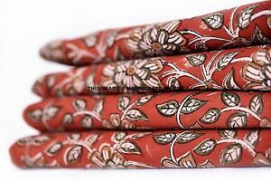 5 Yards Hand Block Flower Print Fabric Indian 100% Cotton Natural Vegetable