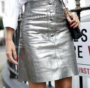ZARA Aged Silver Metallic REAL LEATHER Button Front Skirt L BNWT  REF: 7418 241
