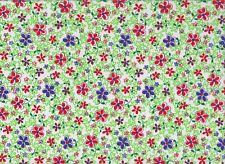 Green Floral Polycotton Fabric (112cm wide)
