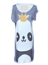 Women S/M Fit White Grey BW Square Sequins Super Cute King Panda S/S Dress