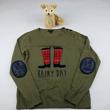 TALBOTS Rainy Day Elbow Patch Sweater Army Olive Green Button Shoulder SZ/SP