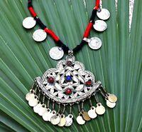 Kashmiri Pendant Coin Necklace Big Ethnic Tribal Boho Jewelry Afghan Kuchi Gypsy
