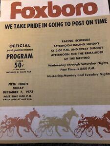 1973 Bay State Raceway Foxboro Harness Racing Program