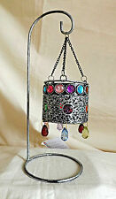 Hanging Moroccan Lantern - Grey Rustic Metal Tealight Holder ~ Free T/Lights