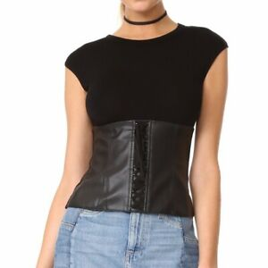 Bailey 44 Black che top vegan leather top size Medium NWT