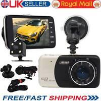 "4"" Dual Lens Camera Full HD 170° 1080P Car DVR Video Dash Cam Recorder G-Sensor"