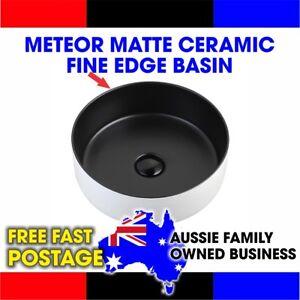 Meteor Matte Black/White ceramic fine edge basin