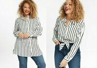 EVANS WHITE / BLACK STRIPE SHIRT BLOUSE LONG ROLL UP SLEEVES Plus Sizes 14 to 28