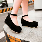 Womens Mary Jane Platform Ankle Strap Lolita Creeper New Wedge Heel Pumps Shoes