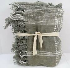 "Pottery Barn Killian Windowpane Plaid Fringe Throw Blanket 50x 60"" Gray #9153"