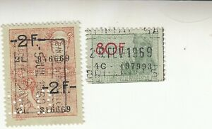 BELGIUM 1969 REVENUE FISCAL STAMPS . 2f and 80f. Perfin Used