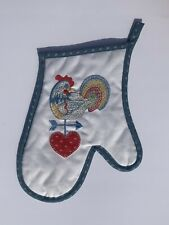 Rooster Oven Mitt Vintage Embroidered Rooster